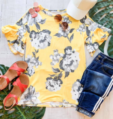 Mustard Ethel Floral Ruffle Top