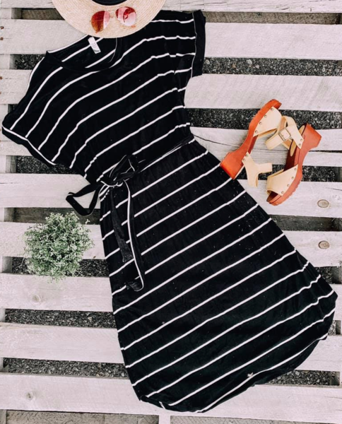 Amber Black Stripe Midi Dress