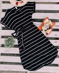 Amber Black Stripe Midi Dress