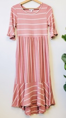 Mauve Flirty Stripe Midi