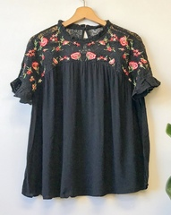 Black Cottage Lace Blouse