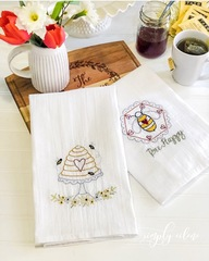 Bee Happy Tea Towel Set Kit