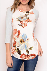 White Troy Floral Baseball Tee