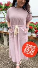 Lilac Waist Tie Dress
