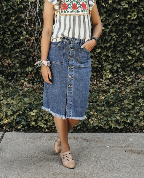 Denim Midi Button Up Skirt-MH