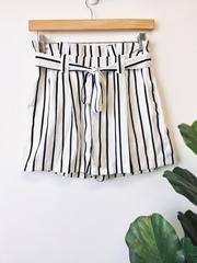 BW Stripe Paperbag Shorts