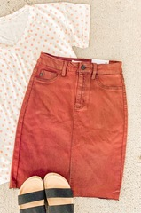 Maroon Denim Skirt-MH