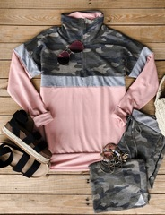 Pink Camo Zip Pullover-MH