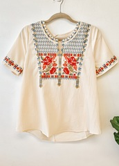 Ivory Egypt Wonders Blouse-FB