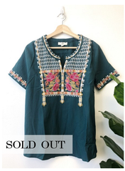 Teal Belize Wonders Blouse-FB
