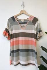 Pink Stripe Flutter Sleeve Top