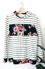 Sara Floral & Stripe Hoodie