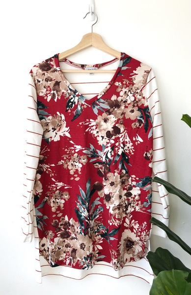 Heather Red Floral Top
