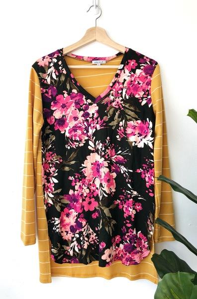 Sally Mustard Floral Top