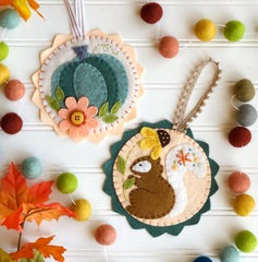 Harvest Aqua Felt Ornament Set