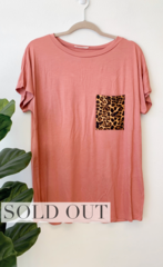 Rose Cheetah Pocket Top
