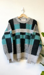 Teal Grid Pullover