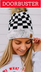 B&W Checker Beanie