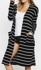 Black/Ivory Stripe Cardi