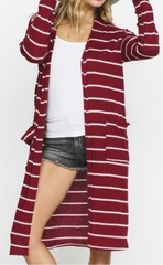 Burgundy/Ivory Stripe
