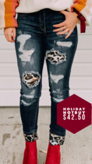 Bold Cuff Cheetah Denim