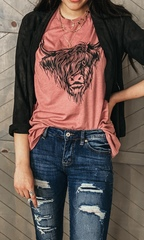 Mauve Messy Bull Graphic Tee
