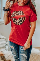 Red Cheetah Lips Tee