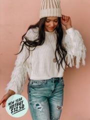 White Camilla Fringe Sweater