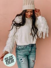 White Camilla Fringe Sweater
