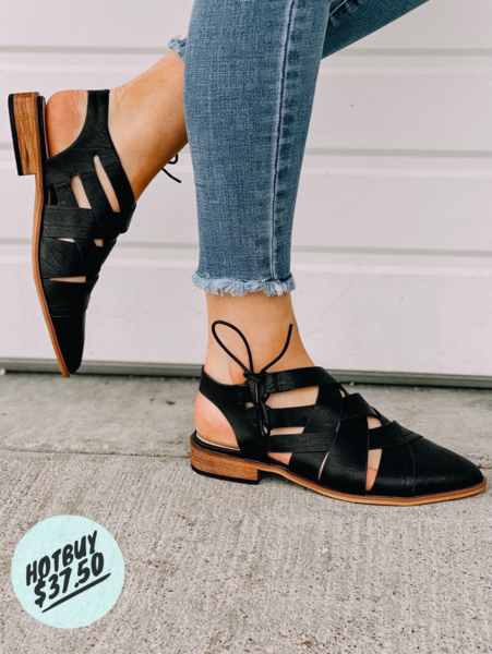 Black CrisCross Sandal
