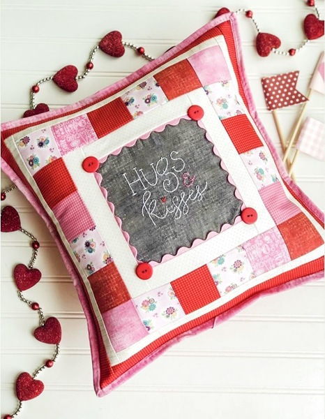 Hugs & Kisses Pillow with thread