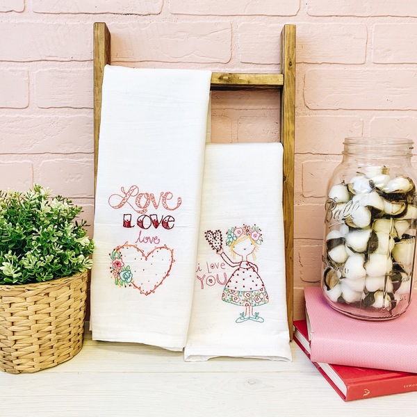 Love Tea Towel Set with Thread