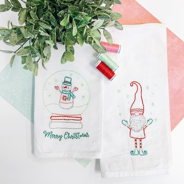 Holly Jolly Tea Towels with thread
