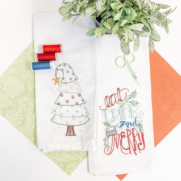 Eat Drink & Be Merry Tea Towel and Thread
