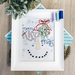 Merry Kissmass Stitch Pattern with thread