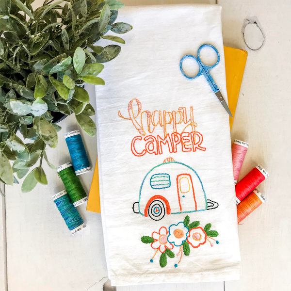 Happy Camper stitch Tea Towel with thread