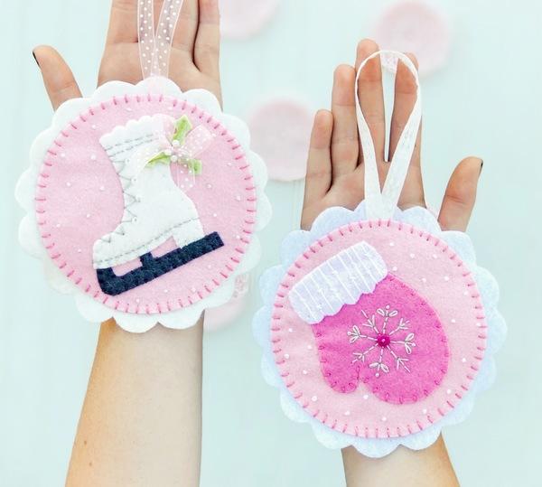 Winter Bliss Pink Felt Ornament Kit