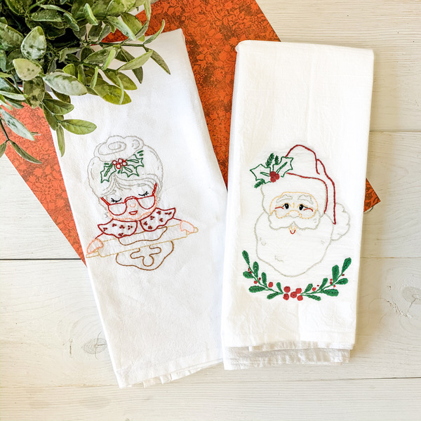 Santa & Mrs Claus Tea Towel With Thread