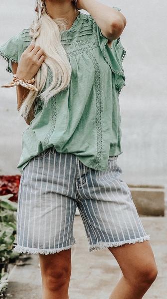 Pinstripe Fray Shorts