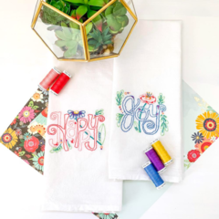 Happy Tea Towel THREAD KIT
