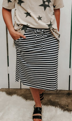 B&W Stripe Drawstring Skirt