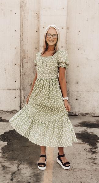 Mindi Sage Floral Cottage Dress