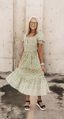 Mindi Sage Floral Cottage Dress
