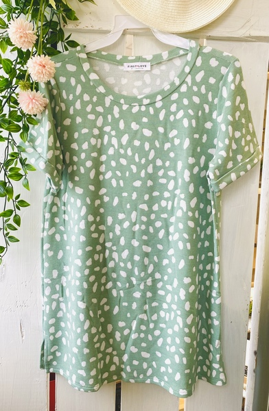 Mint Spotted Top