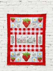 Strawberry Hand Embroidery Wall Quilt