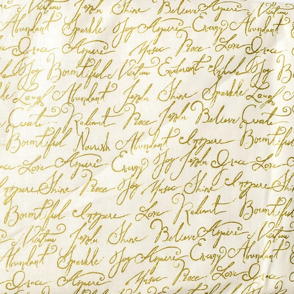 Fabric- Gold Calligraphy