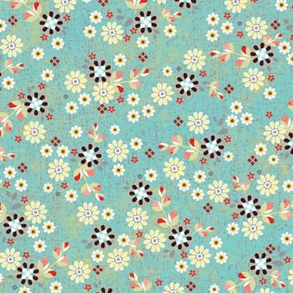 Patched Flowers Turquoise