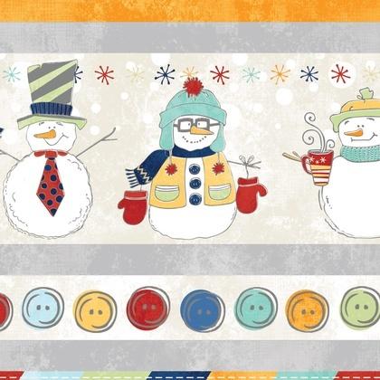 Fabric - Snowman Tickertape