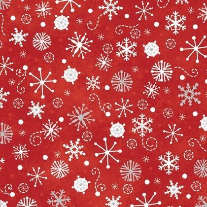 Fabric - Snowfall Red