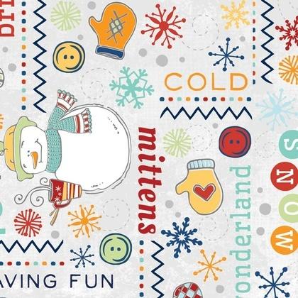 Fabric - Snowman Wordplay